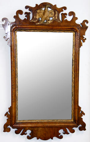 An 18th Century mahogany fret cut wall mirror