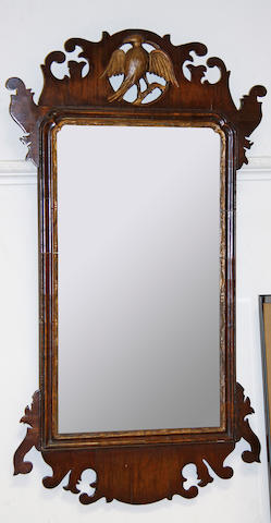 A George III mahogany fret cut wall mirror