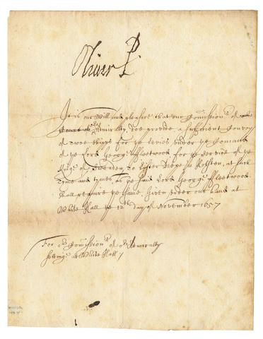 Cromwell (Oliver) document signed
