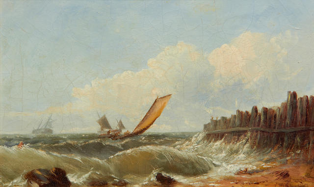 John Wilson Carmichael (British, 1799-1868) Shipping off the coast