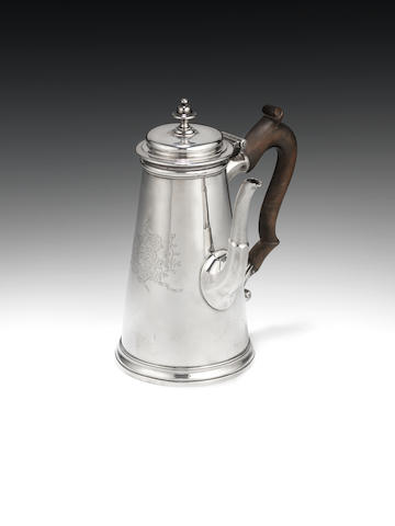 A George II silver coffee pot by Paul Crespin, London 1736