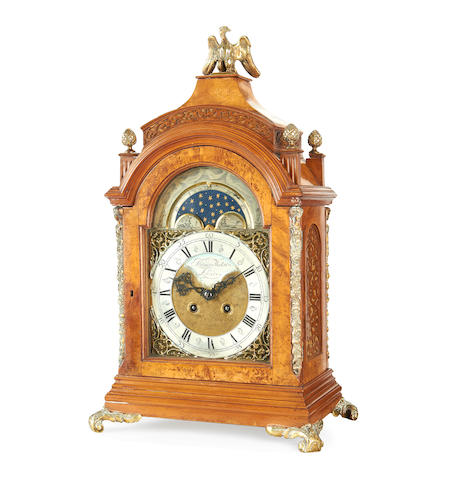 A 19th century Georgian style walnut bracket clock