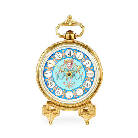 A late 19th century gilt metal and painted timepiece