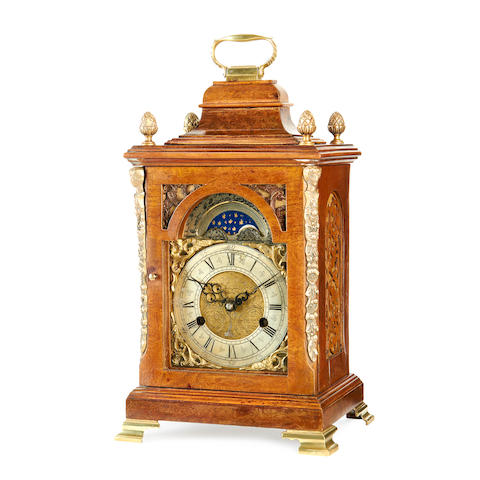 A small late 19th century George III style walnut bracket clock
