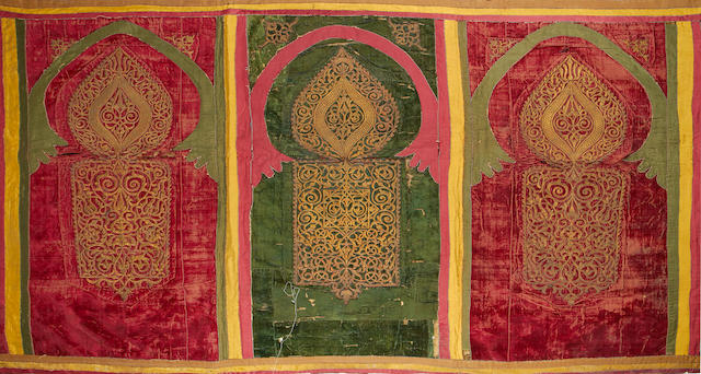 A North African, red and green velvet panel Possibly Morocco and 18th or 19th century