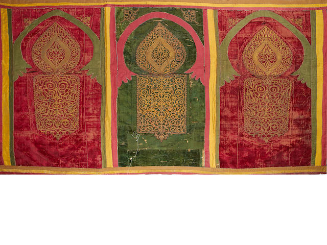 A red and green velvet panel decorated with arches  North Africa or Morocco, 18th/19th Century