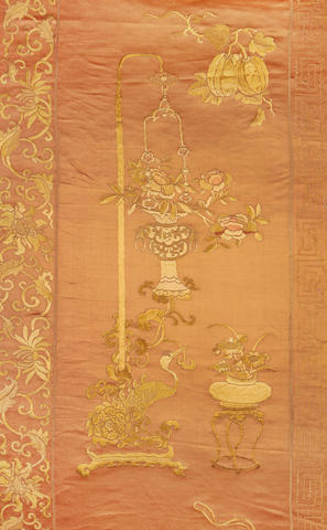 A long Kangxi embroidered panel forming the left side of a birthday or celebration panel China, 1662-1722