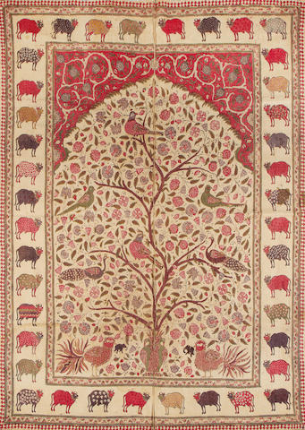 An Indian printed cotton pichvai with cows and trees of life Rajasthan, 19th Century