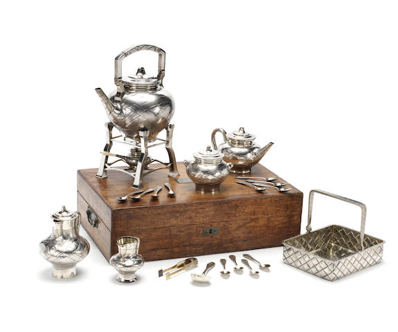 A trompe l'oeil silver tea set and kettle  Alexander sokolov, st Petersburg 1881 and 1882 and various makers
