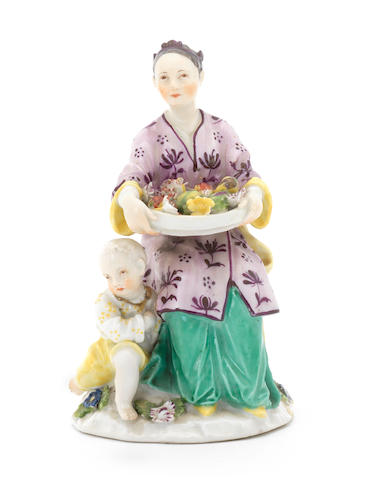 A rare Meissen group of a Japanese woman and child, circa 1745-50