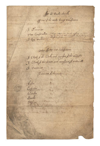 ST PAUL'S CATHEDRAL. Important briefing document endorsed 'Officers for St. Paules church,' autograph corrections and deletions by the architect JOHN WEBB, [c.1631-1669]