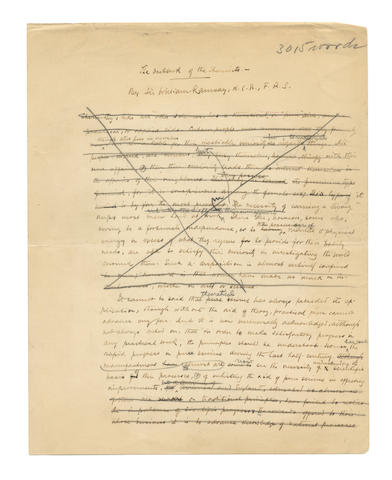 RAMSAY (Sir WILLIAM) Autograph manuscript of a detailed essay entitled 'The Outlook of the Chemists', illustrated with diagrams, [c.1908]