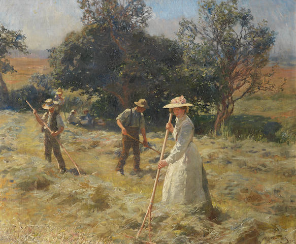 Sir Alfred James Munnings P.R.A., R.W.S. (British, 1878-1959) The haymakers 63.4 x 76.3 cm. (25 x 30 in.)