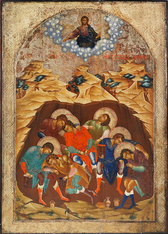 A Monumental Icon of the Seven Sleepers of Ephesus Russia, 18th century<BR />