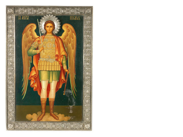 A Large Icon of the Archangel Michael Russia, late 19th century<BR />