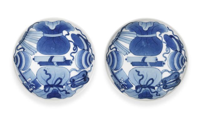 Two Nabeshima blue and white saucer dishes 18th century