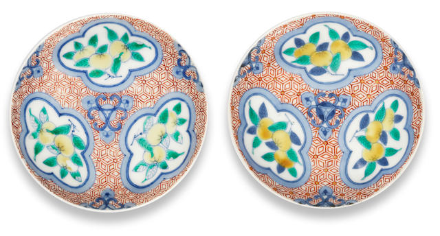 Two Nabeshima enamelled saucer dishes 18th century