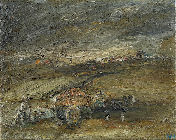 Sheila Fell R.A. (British, 1931-1979) Landscape with horse and cart 40.6 x 50.8 cm. (16 x 20 in.)
