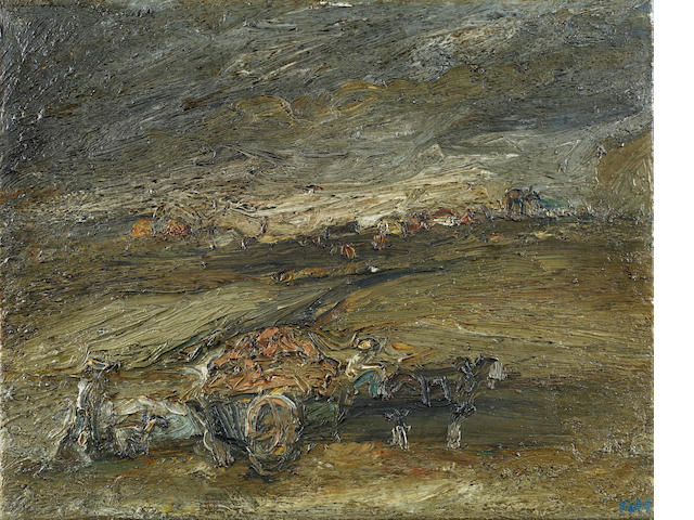 Sheila Fell R.A. (British, 1931-1979) Horse and cart 40.6 x 50.8 cm. (16 x 20 cm.)