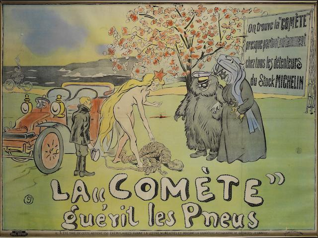 "A large and early 'La ""Comète"" guérit les Pneus' lithographic advertising poster for Michelin, French, 1906,"
