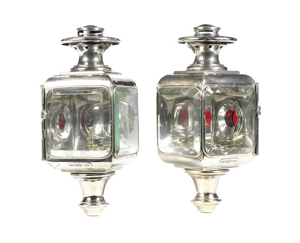 A fine pair of Blériot-Phi Model 55 oil-illuminated opera side-lamps, circa 1910,