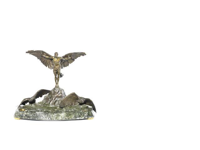 'La Conquête de l'Air', a fine bronze aviation deskpiece by Georges Colin for Automobiles Farman, French, circa 1920,
