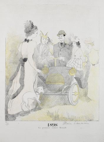 '1898 La Première Voiture Renault', a signed limited edition lithographic print after Marie Laurencin (1885-1957),