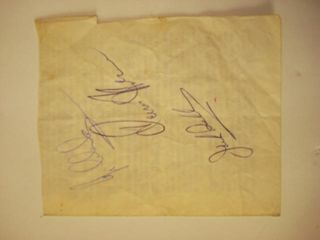 Signatures from Jim Clark, Denis Hulme and Jack Brabham, 1965,