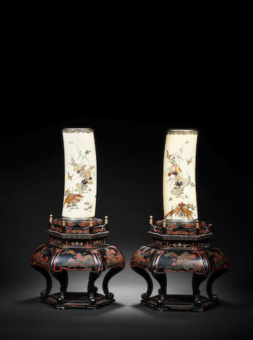 A pair of silver-mounted and ivory Shibayama-inlaid tusk vases By Masamitsu, Meiji Period