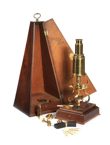 A Dollond Culpeper-type brass compound monocular microscope,  English,  late 18th century,