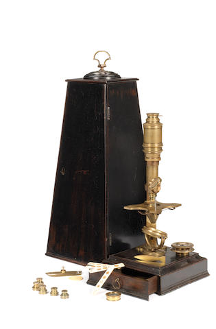 A John Cuff Cuf-type brass compound microscope,  English,  circa 1750,