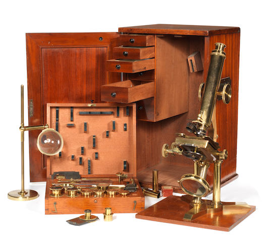A fine James Smith brass compound monocular microscope,  English,  1840's,