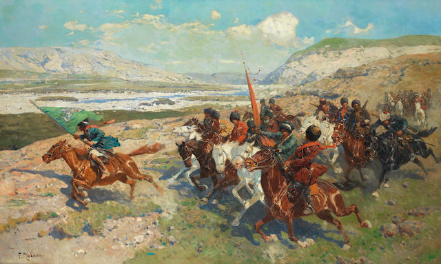 Frantz Alexeevich Roubaud (Russian, 1856-1928) Circassian charge