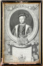 Robert Sheppard after Godfrey Kneller Charles The Second King of England, Scotland, France and Ireland, black and white engraving, 38.5 x 25.4cm,