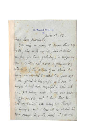 "BROWNING (ROBERT) Autograph letter signed (""Robert Browning""), to his friend Charlotte Moscheles, 1886"