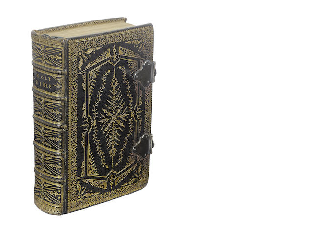 BIBLE. The Holy Bible Containing the Old Testament, and the New, 2 parts in one, FINE SEVENTEENTH CENTURY 'COTTAGE-ROOF' STYLE BINDING OF BLACK MOROCCO, 1661