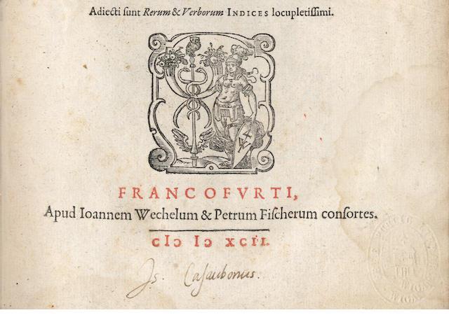 CASAUBON (ISAAC) -- BRISSON (BARNABE) De formulis et sollemnibus populi Romani verbis librii VIII, CASAUBON'S COPY, 1592
