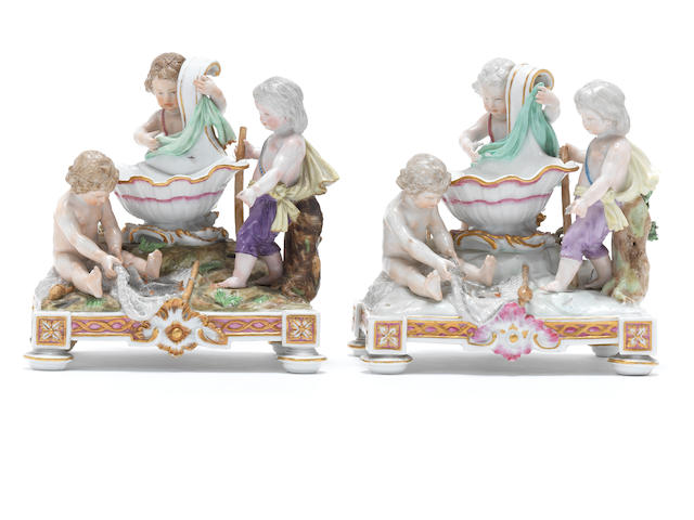Two Meissen figural salts, early 19th century