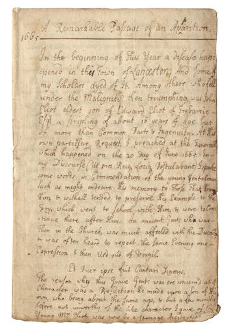 "DEFOE APOCRYPHA – A CORNISH GHOST STORY. Early eighteenth-century manuscript headed ""A Remarkable Passage of an Apparition/ 1665"", [c.1720]"