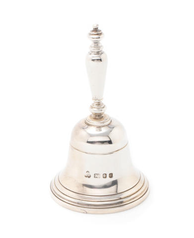 A silver table bell by Wakely & Wheeler, London 1971