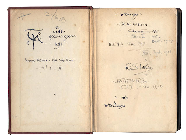 TOLKIEN (J.R.R.) Tolkien's copy of Arthur Sidgwick's Introduction to Greek Prose Composition with Exercises (1902), used by him as a pupil at King Edward VI's Grammar School, Birmingham, and as an undergraduate at Exeter College, Oxford, inscribed with many youthful variants of his signature and accompanying dates, 1907-1911