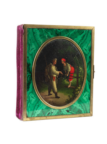 A brass-mounted malachite and lacquer photograph album