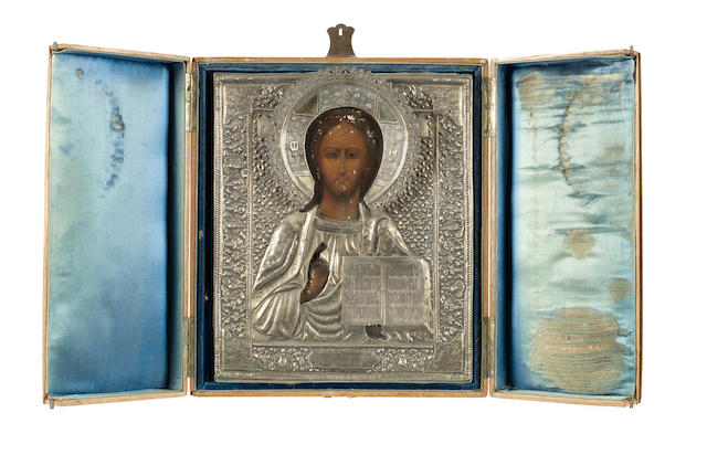 Christ Pantocrator  maker's mark MC, assaymaster AC, 1894, Moscow, 84 standard<BR />
