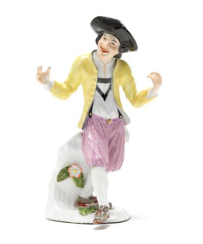 A Meissen dancing peasant circa 1740-45