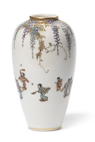 A Satsuma small ovoid vase By Yabu Meizan, Meiji Period