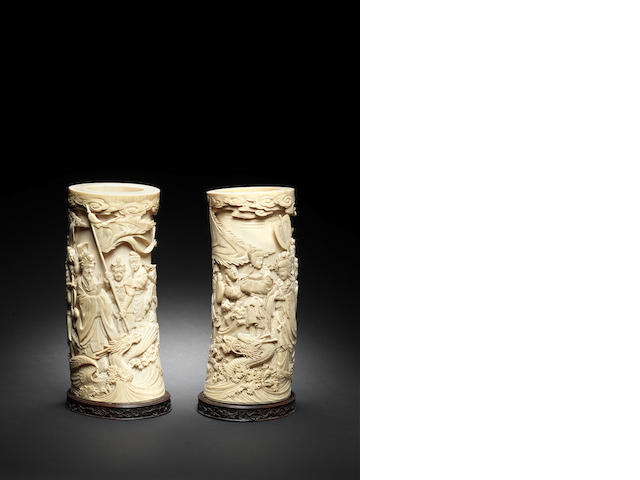 A pair of ivory tusk vases Meiji Period
