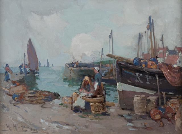 William Watt Milne (British, 1865-1949) Boats in St Monans