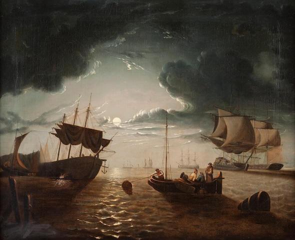 English Naïve School, (19th century) Nocturnal fishing scene 61 x 73cm