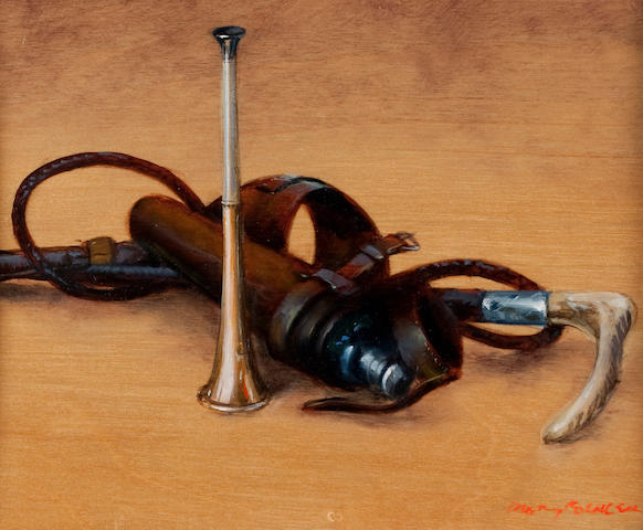 Henry Koehler (American, born 1927) Horn, whips and flask