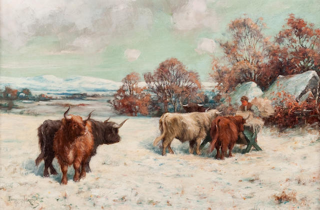 Tomson Laing (British, active 1890-1904) Highland cattle in snow